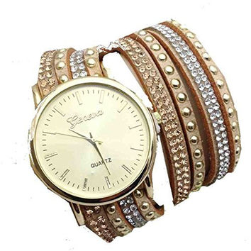 Geneva Gold Face with Gold, Silver, Bronze Multi Crystal and Stud Leather Strand Watch