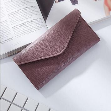 Women Envelope Wallet Multifunctional Super Thin Purse Litchi Pattern Hasp Long Style Three Folding Closure Bank Card Money Bag