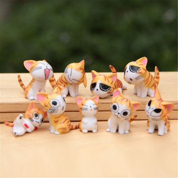 3 Colors Sweet Home little cat Figures decorative mini fairy garden Key Chain statue jardin miniature Moss ornaments 9pcs/set