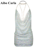 Women Party Dress Sequined Sexy Halter Metal Shining Beads Nightclub Low Cut Halter Harness Dresses Mini Vestidos