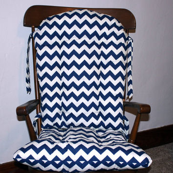 Navy Chevron Custom Rocking Chair Cushions, Glider Replacement Cushions, Wooden Rocking Chair Pads