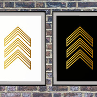 Set of 2 prints for the price of one Gold Arrow Art, Chevron Print, Gold Chevron Art Black White Prints, Arrow Wall Art, Poster, Chevron *3*