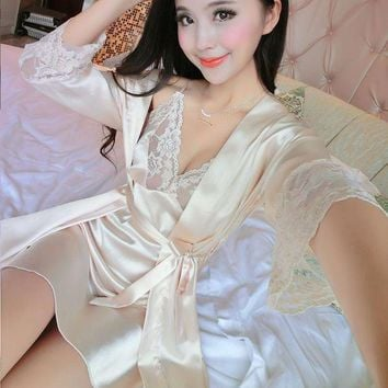 PEAPGC3 2017 New Summer Women Long Sleeve Silk Sleepwear Nightgown Set Temptation Sexy Robe & Nightdress Two Piece Lady Cute Sleepshirts