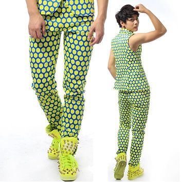 Stage personality men pants polka dot harem pant men feet trousers singer dance pantalon homme street european novelty