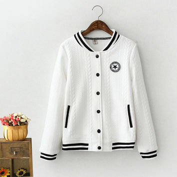 Embroidery Patch Button Baseball Jacket