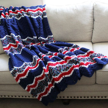 Afghan - Handmade Crochet Ripple Blanket - Red White and Blue with Coordinating Multi