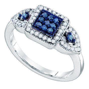 10kt White Gold Womens Round Blue Color Enhanced Diamond Square Cluster Ring 1/2 Cttw