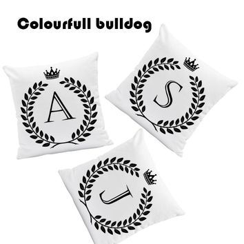 Word Letter King Queen Crown Cushions Cover Black And White Pillows Pop Art Bed Gifts For Mom Pillowslip Covers 45X45Cm Velvet