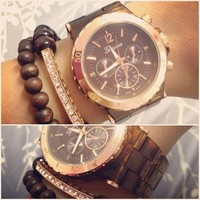Rose Gold Tortoise Shell Madison Watch from Her Vanity Affair