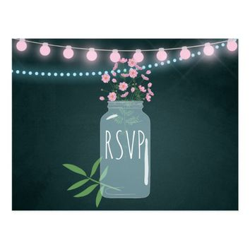 Pink and blue Cosmos floral chalk Wedding RSVP Postcard