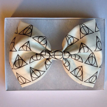 "Harry Potter Deathly Hallow 5"" Long Fabric Hair Bow"