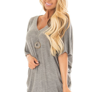 Cement Grey Batwing Top