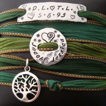 D2E Hand dyed silk wrap bracelet with Hand stamped charms family tree sterling silver magnetic clasp