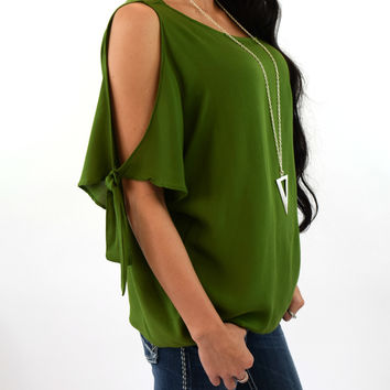 Claire Tie Detail Sleeve Top - Avocado