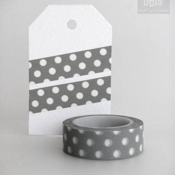 WASHI TAPE, medium white polka dots on grey background