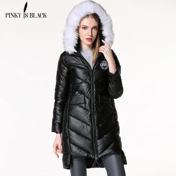 Pinky Is Black winter jacket women PU leather parkas large white fur collar hooded solid color down cotton winter women coat