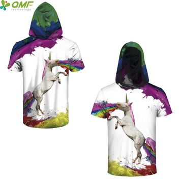 Rainbow Unicorn Men Skateboarding Hoodie T-shirts Streetwear Tees Splash-ink Horse Hooded Tops Training Gym Clothing Slim Fit