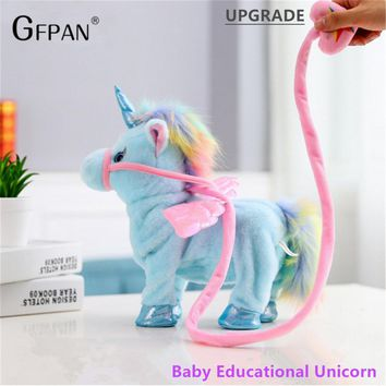 1pc 35cm Twist Walking Unicorn Plush Toy Stuffed Animal Toy Electronic Music Unicorn Toys for Children Funny Christmas Gifts