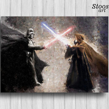Darth Vader fight Obi Wan star wars poster