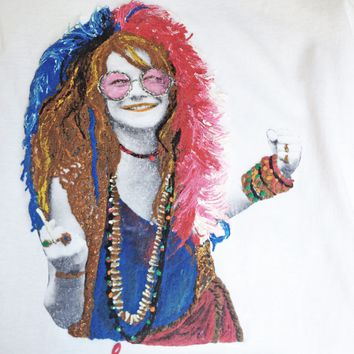 Janys Joplin Tshirt Sixties Artistic Painted T shirt Art To Wear 60s Icon