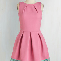 Mid-length Sleeveless Fit & Flare Luck Be a Lady Dress in Pink and Tapestry