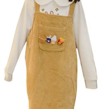 Cartoon Patchwork Corduroy Suspender Dress