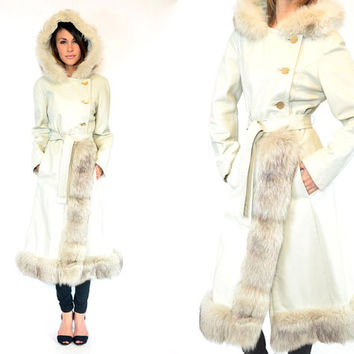ARCTIC FOX fur & leather hooded PRINCESS trench maxi coat wrap, small-large