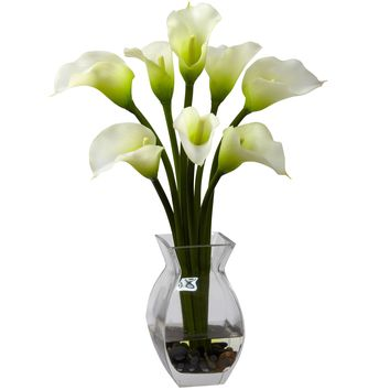 Artificial Flowers -Classic Cream Calla Lily Arrangement Silk Flowers