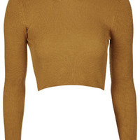 Funnel Neck Ribbed Crop Sweater - Mustard