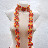 Handmade crochet Lariat Scarf  Yellow Orange Brown Colorful Variegated Long Necklace  winter fashion
