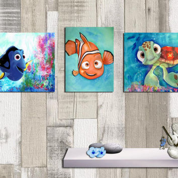 Finding Nemo Trio, Posters set of 3, Nursery, baby's room, child's room, Art print