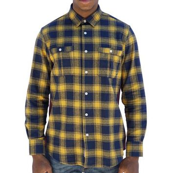 Special Delivery Flannel Button-up in yellow, navy, and maroon