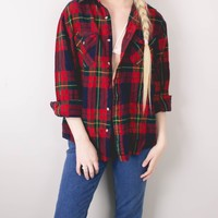 Vintage 70s Red Navy Plaid Flannel Shirt