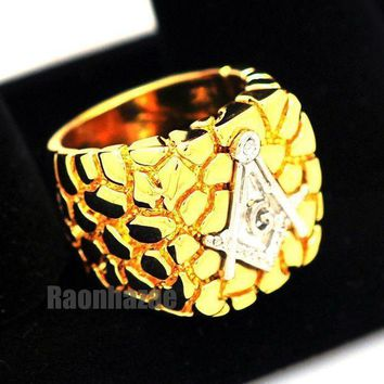 New Mens Freemason Masonic Silver/gold Plated Nugget Ring Size 8   13 N012t