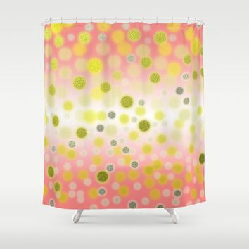 Shiny Gold Silver Dots on Shiny Pastel Pink Background Shower Curtain by Tees2go