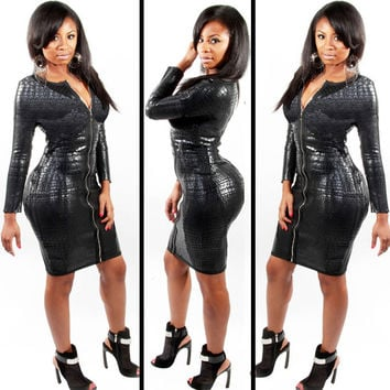 Black Snake Skin Pattern Long Sleeve Leather Bodycon Dress