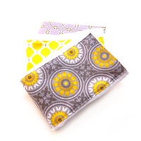 Gray & Yellow Baby Burp Cloths Girl -  Geometric- Set of 3