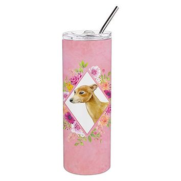 Italian Greyhound Pink Flowers Double Walled Stainless Steel 20 oz Skinny Tumbler CK4154TBL20