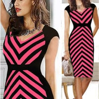 Pink Wavy Stripes Cap Sleeves Empire Waist Sheath Dress