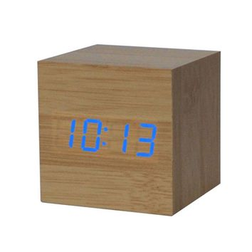 Mosunx Business 1PC Digital LED Bamboo Wooden Wood Desk Alarm Brown Clock Voice Control