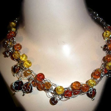 Glass Bead Necklace Yellow Orange Amber Glass Crochet Chain