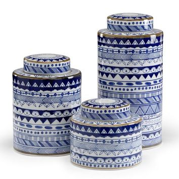 Blue and White Porcelain Canisters- Set of 3