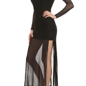 Black Mesh Long Sleeve Maxi Dress With Slip