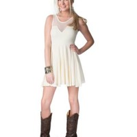 Ocean Drive Women's Ivory Jersey Knit with Mesh Upper Sleeveless Dress