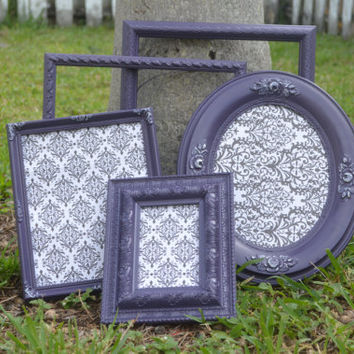 Purple Picture Frames Set of 5 All with GLASS, BACKING, Wire or Hook on the back for wall hanging- Purple Set of Picture Frames