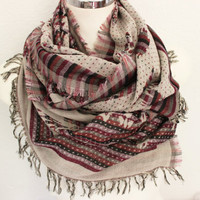Oversized scarf, Senior Men scarf, Cream burgundy scarf, Men linen scarves, Hand-woven scarf, Unique scarf, Men gift, Men scarves, Boho
