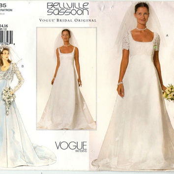 Vogue 2085 Bellville Sassoon Designer Bridal Gown Wedding Dress Sewing Pattern Sz 12-16