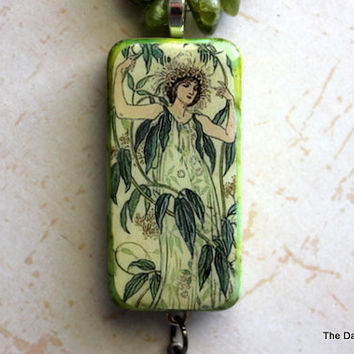 Lady in Leaves Altered Art Domino Necklace