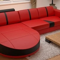 Small Modern Leather Sectional With Chaise - Opulentitems.com