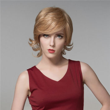 Elegant Short Human Hair Wig Side Bang Mono Top Virgin Remy Capless Charming Wigs 7 Colors